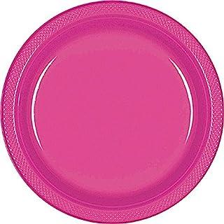 Amscan 可重复使用甜点餐具儿童派对餐盘,20件,品红色