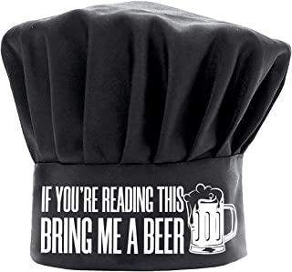Chef Hats for Men Funny Black, If You're Reading This Bring Me a Beer BBQ 烹饪帽可调节厨房厨师帽生日礼物母亲节父亲节圣诞节礼物