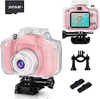 BKMLSR 儿童摄像机防水 1080P 高清 1200 万像素数字儿童动作相机幼儿摄像机带 32GB 卡适用于 3-12 岁女孩男孩圣诞节生日礼物 - 粉色