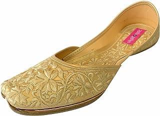 Step n Style 女式金色鞋舒适鞋休闲鞋旁遮蓬 Jutti