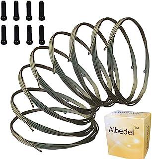Albedel 8 件 2100 毫米换档电缆脱轨电缆不锈钢,适用于山地自行车和公路自行车 + 8 件黑色合金电缆盖端端端端端端端端压接线压接线器