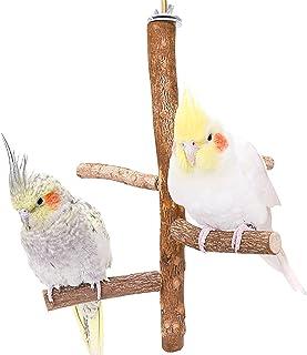 木质鸟立栖息地,天然鸟笼装饰悬挂摆动玩具配件,自然木鹦鹉站立杆鸟笼爪攀岩梯子叉,Lovebirds 笼吊床分支台杆