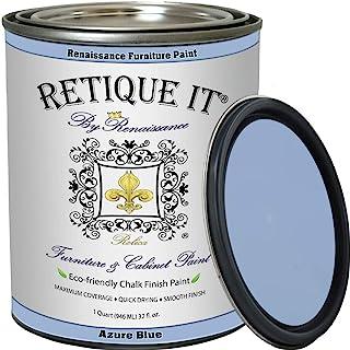 Renaissance Chalk Finish Paint - AzureBlue 1 Pint (16oz) - Chalk Furniture & Cabinet Paint - Non Toxic, Eco-Friendly, Supe...