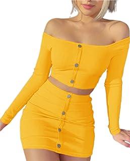 女式针织罗纹 2 件套裙装露肩纽扣露脐上衣和紧身迷你短裙性感俱乐部装