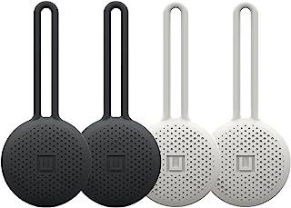 U by UAG [U] Dot Loop 4 件装 Apple Airtags 吊坠 [2X 黑色 / 2X 白色,Airtag钥匙扣,超大环,*硅胶] - 黑色/棉花糖色