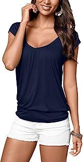 女式夏季圆领 T 恤短袖休闲上衣基本款印花束腰上衣