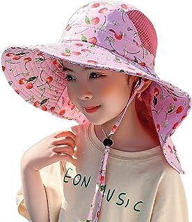 可调节渔夫帽,适合 4-12 名女孩,50+ UPF *宽帽檐防紫外线,适合女孩沙滩渔夫帽