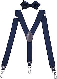 QCWQMYL 耐用吊带蝴蝶结套装,男式弹性可调节 Y 型背部护具