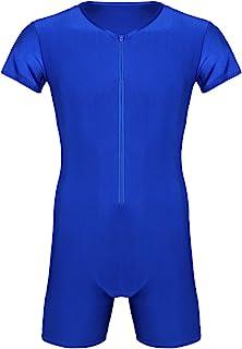 TTAO 男式一件式短袖紧身连衣裤健身房锻炼平角短裤凸起袋紧身衣