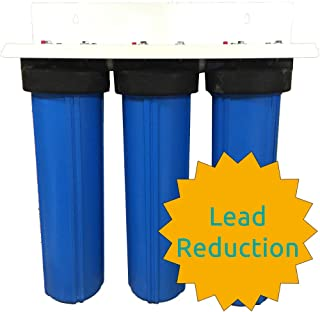 AFWFilters CF3-4520-SDCBPb-PENTEK 20英寸(约50.8厘米)3阶段沉淀物碳矩阵Pb1 PENTEK 大蓝色全屋水芯减少过滤器