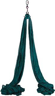 Happybuy 空中丝绸,11 码(约 2.8 米)空中瑜伽秋千套装瑜伽吊床套件 - 抗重力天花板悬挂瑜伽吊带 - 登山扣,雏菊链,适用于家庭户外空中舞蹈