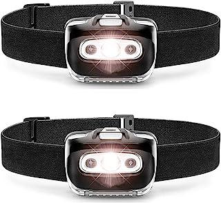 BOELEBE LED 头灯手电筒 S500 [2 件装] - 跑步、露营和户外大灯头灯 - 头灯带红色*灯,适合成人和儿童