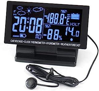 TOTMOX 多功能自动表汽车时钟 - 12V/24V 数字 LCD 显示汽车温度计闹钟 - 汽车温度计 120x60x20mm