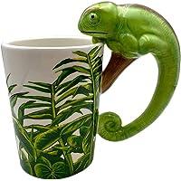 Kouta 3D 蜥蜴咖啡杯,创意可爱动物形状牛奶茶杯,生动的丛林野生动物陶瓷手绘动物马克杯啤酒牛奶热茶果汁咖啡儿子男孩…