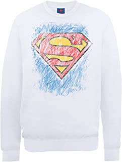 DC Comics 男式 dc0000846DC Comics 官方超人蜡笔标志圆领长袖运动衫
