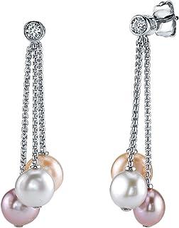 7-8mm 正品多色淡水养殖珍珠 & 立方氧化锆 Elaine 女式耳环