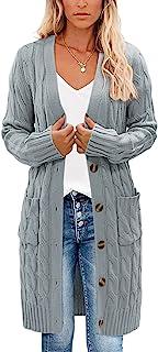 YUOIOYU 绞花针织开襟羊毛衫纽扣长袖外套带口袋