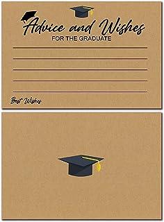 30 张 2021 毕业建议智慧词语卡片,适用于毕业生、高中、大学毕业、趣味黑色和金色派对游戏、礼物、4X6 英寸活动纪念品