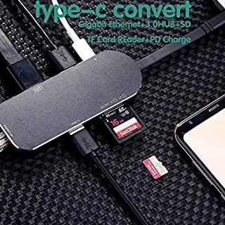 USB C 集线器,Sunteck 7 合 1 C 型适配器,带千兆以太网,4K HDMI,2 个 USB 3.0 端口,C 型充电,读卡器,适用于 MacBook,MacBook Pro 2016/2017,戴尔 XPS 和更多 USB C ...