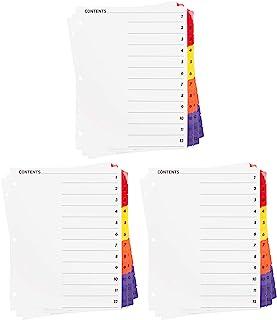 1 – 12 个标签隔板,用于 3 个环形活页夹,内容页,可定制多色目录索引隔板,抗撕裂 - 3 套