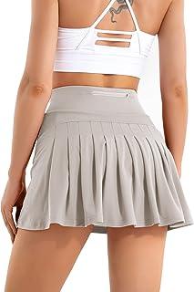 女式打褶网球裙带口袋高腰高尔夫裙运动跑步 2 合 1 短裤裙运动服