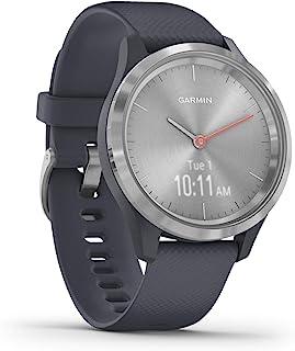 GARMIN 佳明 Vivomove 3S 智能复合手表 带真实手表指针和隐藏触摸屏显示屏 花岗岩蓝色硅胶表带 银色硬件