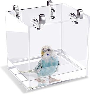 Saderoy 鸟浴架 无泄漏鸟浴缸 带悬挂挂钩笼配件 适用于小鸟鹦鹉 Lovebirds Canary 便携式淋浴