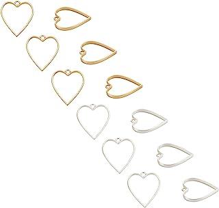 UNICRAFTALE 30 件长方形露背边框吊坠合金空心挂件 DIY 树脂铂金色吊坠适用于 DIY UV 树脂压制花卉珠宝制作 49 毫米,3 毫米孔