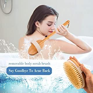 后刷长手柄适用于淋浴去角质刷,适用于干性皮肤刷 天然鬃毛身体刷 适用于*团沐浴刷 可拆卸手柄