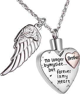 心形吊坠项链,女士项链,灰烬男士项链 Cremation Urn 珠宝纪念吊坠,不锈钢奶油项链个性化天使之翼
