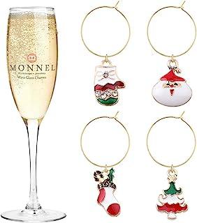 Monnel P477 葡萄酒魅力玻璃标记可爱圣诞老人袜子树圣诞系列,带天鹅绒袋(4 件套)