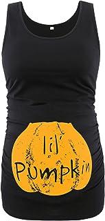 Ecavus 女式孕妇背心基本低圆领无袖孕妇 T 恤侧褶背心, 黑色万圣节4, X大码