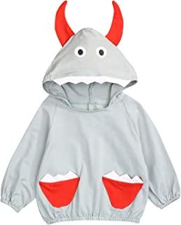 童装男婴女童秋季夹克套装 3D 恐龙口袋连帽运动衫外套衬衫上衣冬季衣服