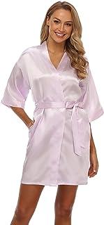 Vogue Bridal 女式短款和服睡袍纯色丝绸浴袍缎面睡衣,适合婚礼派对