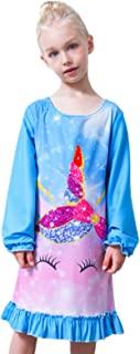 Nidoul 女童睡衣长袖羊毛晚礼服独角兽公主睡衣睡衣