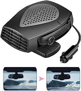 Volwco 便携式汽车取暖器,12V 150W 多功能自动取暖器风扇,带除雾解冻、加热和冷却双重使用,插入点烟器带旋转支架