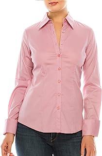 MAYSIX APPAREL 长袖弹力纽扣领办公室正式休闲衬衫女衬衫(XS-3XL)