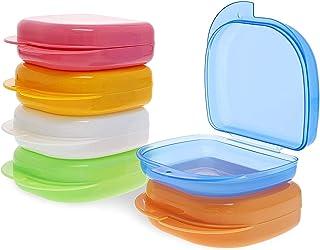 牙齿矫正器盒 - 6 个装便携式牙齿盒,护齿套,适合护齿器,*,6 种颜色,3.2 x 2.6 x 1 英寸