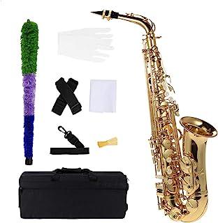 ammoon ® bE Alto Saxphone 黄铜漆金色 E Flat Sax 802 钥匙型木管乐器带清洁刷布手套带软垫套