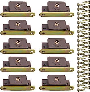 WMYCONGCONG 20 件磁性门锁塑料重型单磁铁锁板带百叶窗橱柜橱柜壁橱家具门衣柜抽屉,含螺丝
