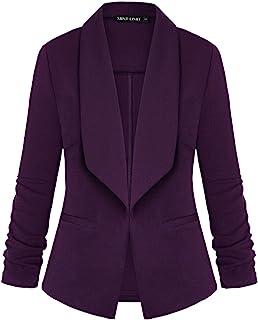 女式 Blazers 褶饰七分袖前开轻质办公办公室西装外套夹克口袋