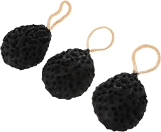 Beaupretty 3 件套沐浴海绵丝瓜身体磨砂淋浴袋淋浴去角质工具成人浴室酒店黑色