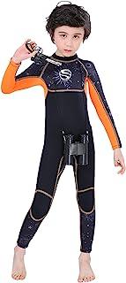 PIMOFEE 女童潜水服 3 毫米氯丁橡胶保暖泳衣,一件式保暖防紫外线全身长袖湿衣,适合儿童幼儿青少年游泳浮潜冲浪