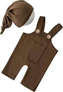 Vinperfor 新生儿摄影道具女孩男孩服装 | 针织手工耳帽连衫裤