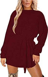 YUOIOYU 女式长袖华夫格针织毛衣连衣裙企领系带束腰毛衣