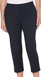 Rafaella 女式纯色轻质曲线修身缎面斜纹七分裤