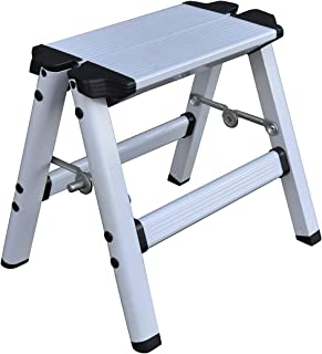 Elk & Bear 小号折叠凳 适用于成人或儿童铝制梯子 非常适合厨房、浴室、房车、壁橱、车库、花园(白色)