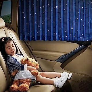 Ovege 汽车遮阳罩 - 汽车侧窗遮阳罩汽车窗帘褶皱丝质防紫外线隐私婴儿吸力磁性(蓝星,后排座椅 2 件)