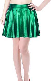 TQS Metallic Pleated Skirt Skater Skirt Short Shiny Liquid Wet Look