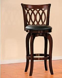 Benzara 木质酒吧凳,带软垫人造革座椅,棕色